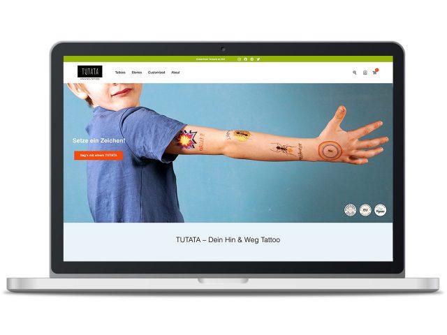 Piccobello Webdesign Referenz TUTATA Temporäre Tattoos